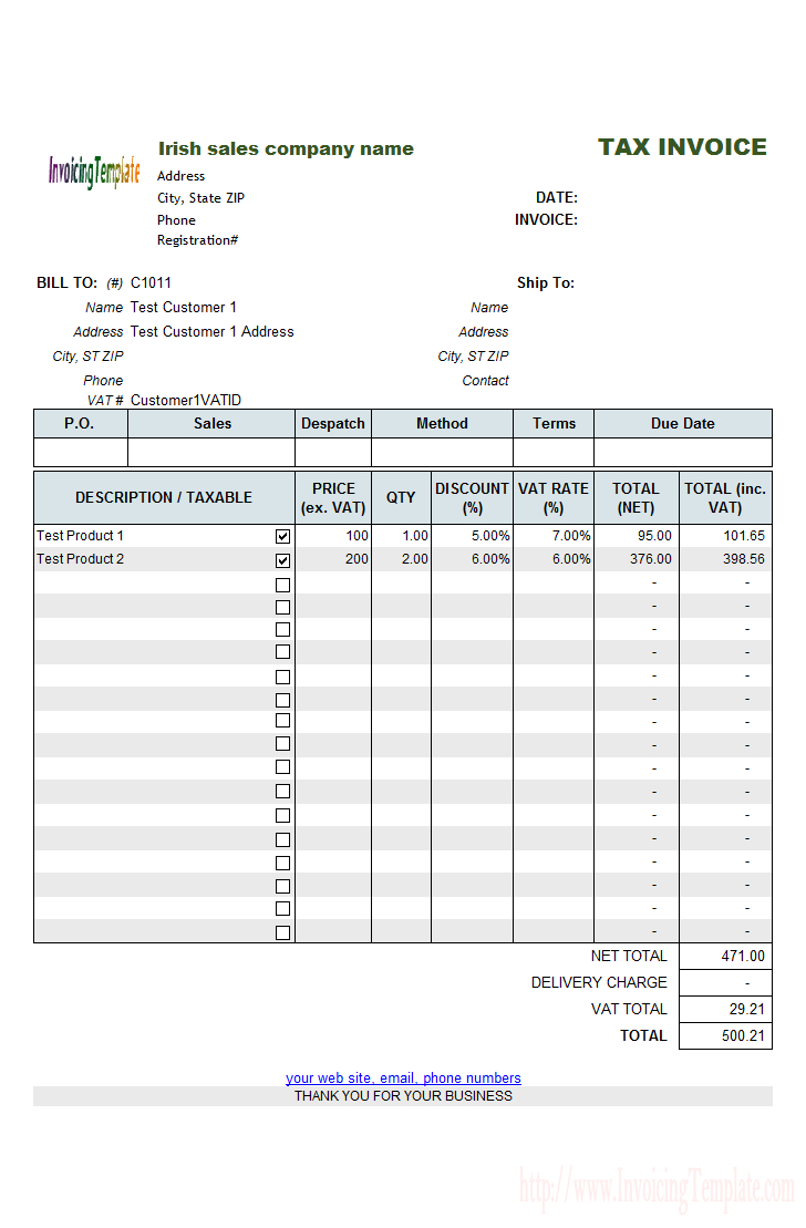 Free Vat Spreadsheet Template With Uk Vat Invoice Template Non Registered Free Excel Sample