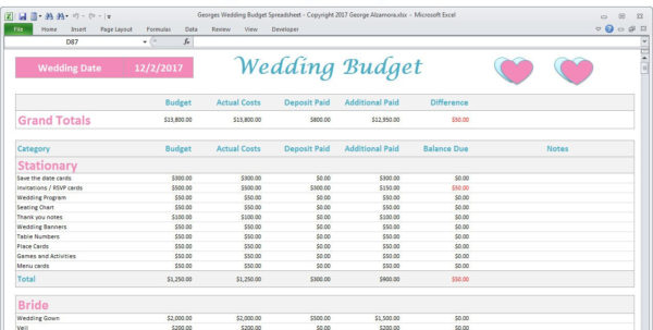 Free Wedding Budget Planner Spreadsheet Within Wedding Budget Spreadsheet Planner Excel Wedding Budget  Etsy