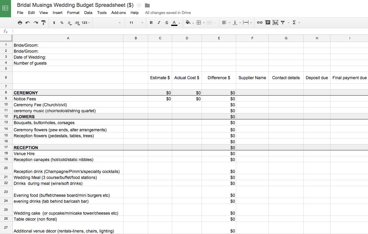 Free Wedding Spreadsheet For Free Wedding Budget Spreadsheet  Aljererlotgd