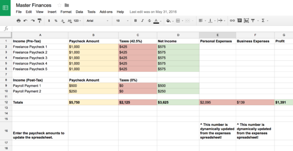 Freelance Expenses Spreadsheet With Regard To Master Financial Spreadsheets  Products  Matt Olpinski  Ui   Ux