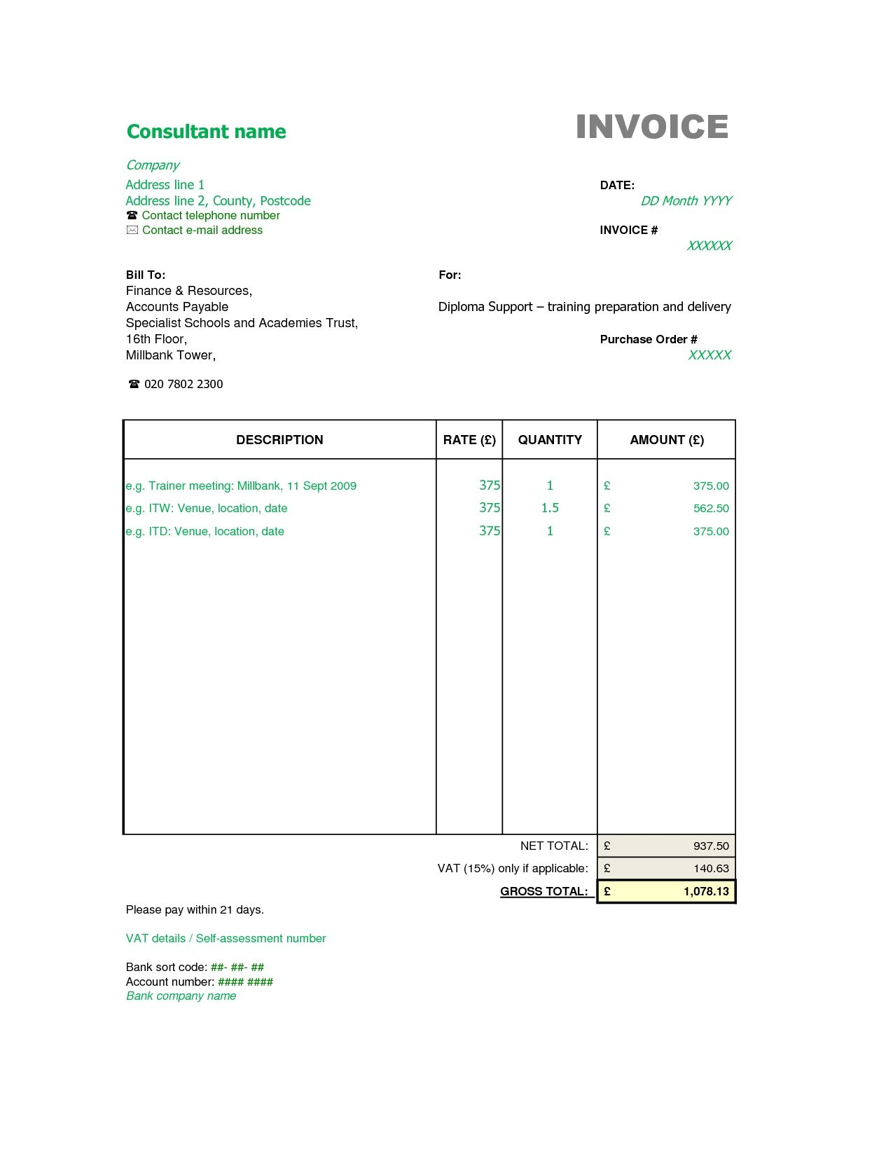Freelance Spreadsheet With Regard To Consultant Invoice Template Free And Service With Contractor Receipt