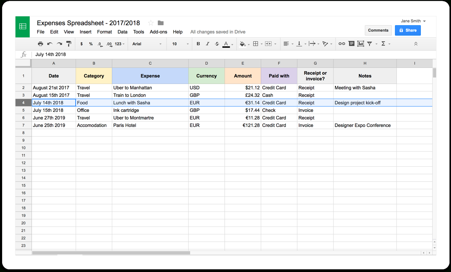 Freelance Spreadsheet With Self Employed Expenses Spreadsheet Freelance Excel Design  Parttime