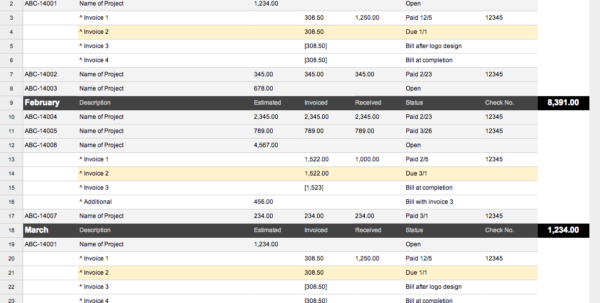 Freelance Spreadsheet Work Pertaining To Job Book: A Way For Designers To Organize Project Finances