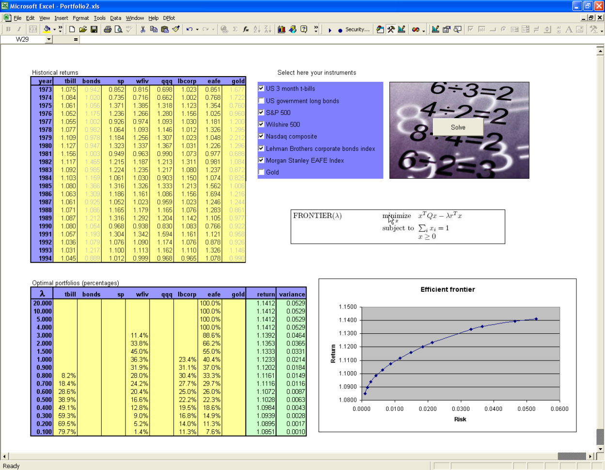 Front End For Excel Spreadsheet Pertaining To Packaging Optimization Applications