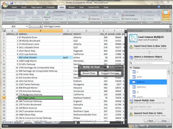 Front End For Excel Spreadsheet Throughout Mysql :: New! Mysql For Excel: Edit Data