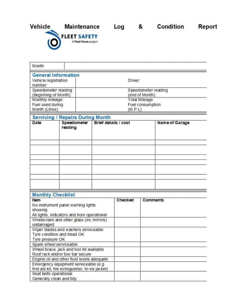 Fuel Log Excel Spreadsheet Pertaining To Truck Maintenance Spreadsheet Fleet Management Excel Free Template
