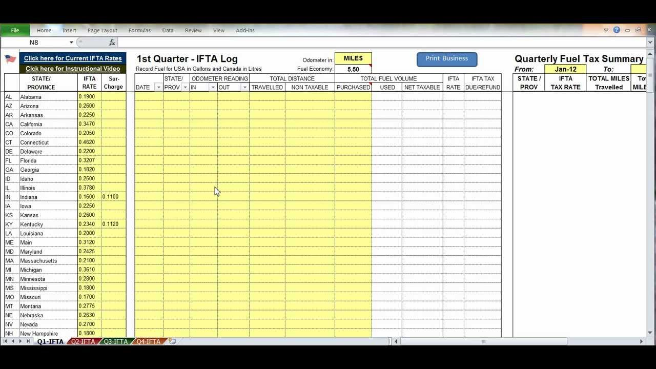 Fuel Spreadsheet With Regard To Ifta Spreadsheet Fuel Taprogram For Truckers In The Usa Youtube