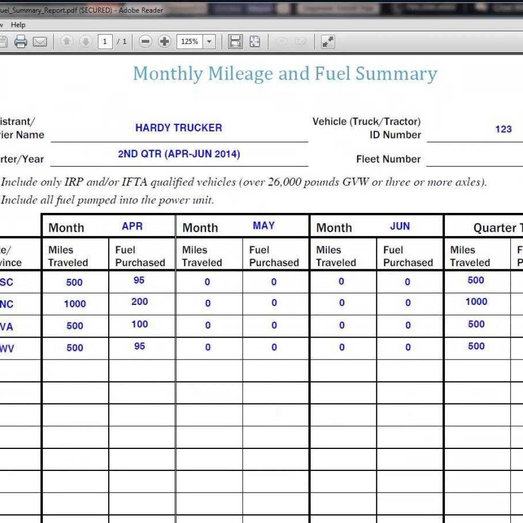 Fuel Tracking Spreadsheet Excel Intended For Ifta Spreadsheet Free Mileage Excel Sheet And Fuel Purchase Reports