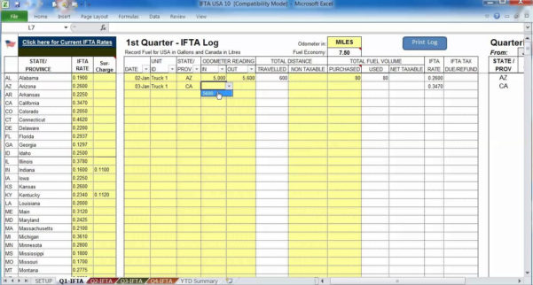 Fuel Tracking Spreadsheet Excel Within Ifta Spreadsheet Excel Sheet Mileage Free Sample Worksheets