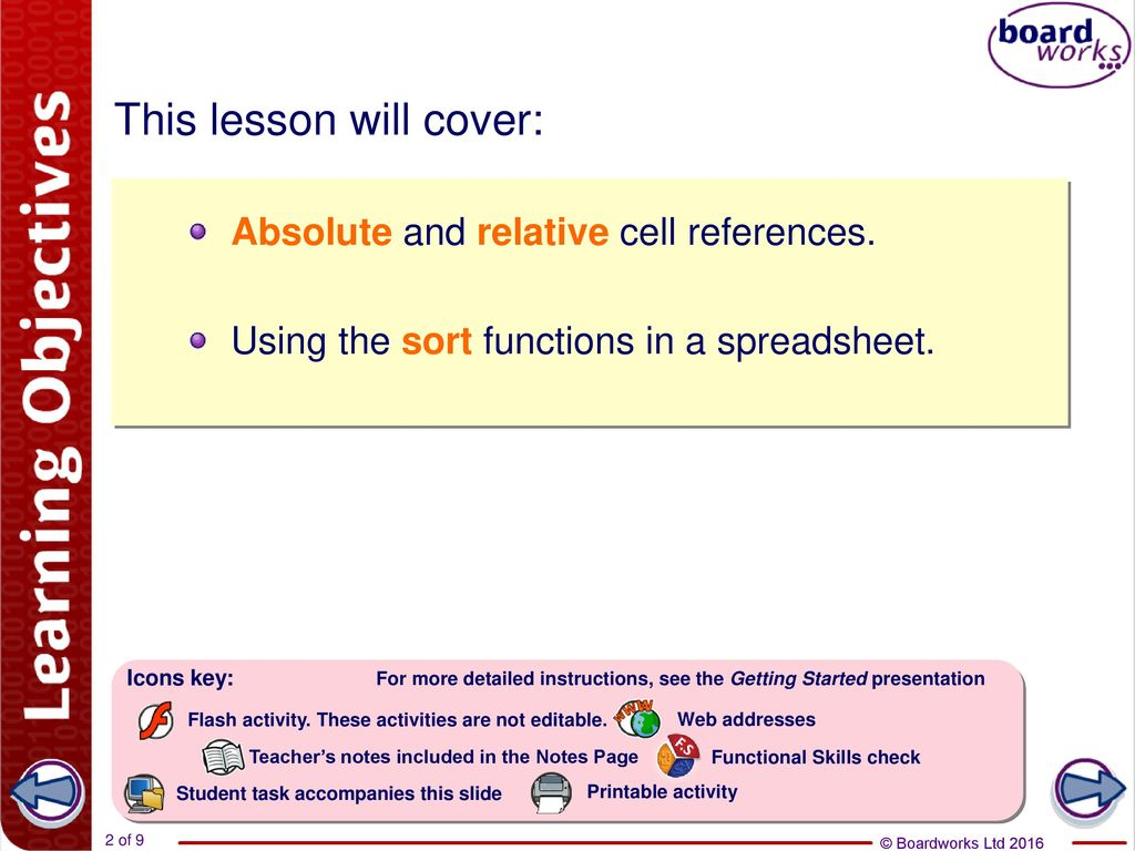 Functional Skills Ict Level 2 Spreadsheet In Cell References And Sorting  Ppt Download