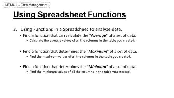Functional Skills Ict Level 2 Spreadsheet Pertaining To Spreadsheet Basics Lesson 2 Mdm4U – Data Management.  Ppt Download