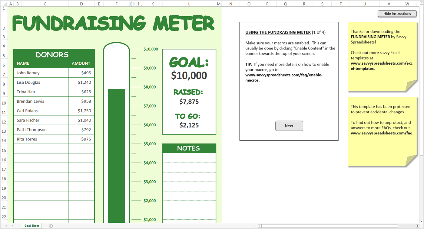 Fundraising Spreadsheet Pertaining To Fundraising Meter  Excel Template  Savvy Spreadsheets