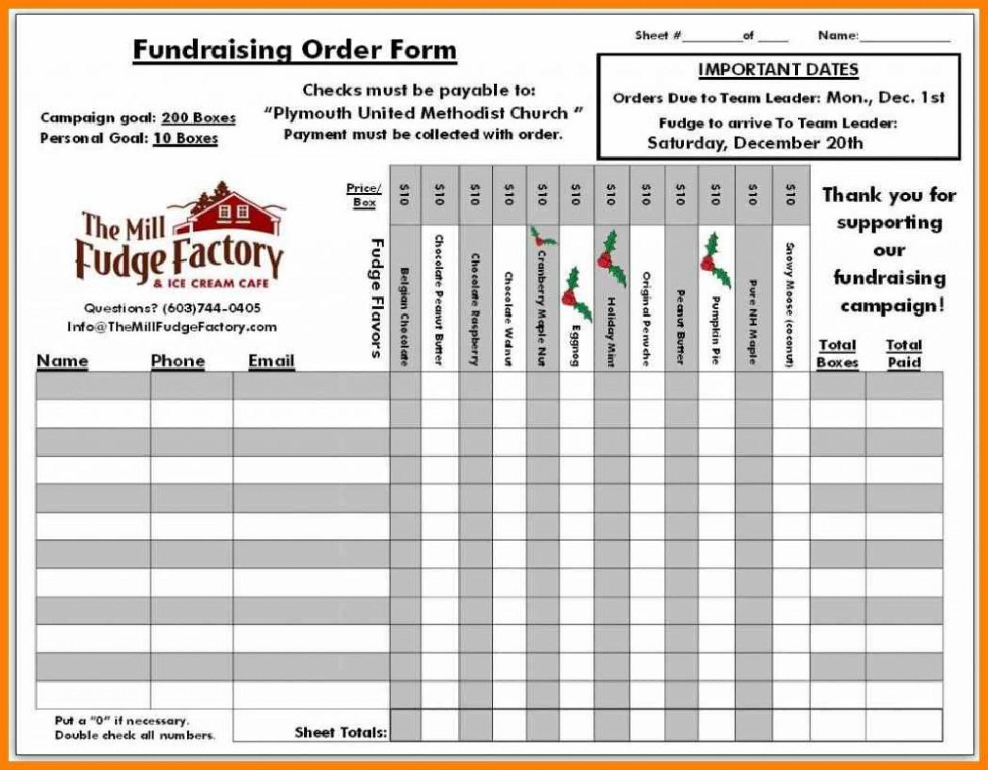 Fundraising Spreadsheet Template Intended For 010 Fundraising Order Form Templates Template Ideas Doc1400758 Meter