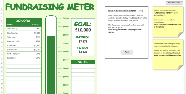 Fundraising Spreadsheet Template With Fundraising Meter  Excel Template  Savvy Spreadsheets