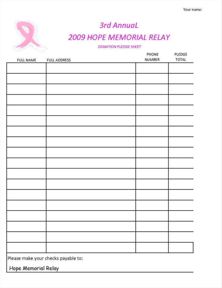 Fundraising Spreadsheet Within Pledge Sheetate Spreadsheet Donation Church Free Walkathon Word Card