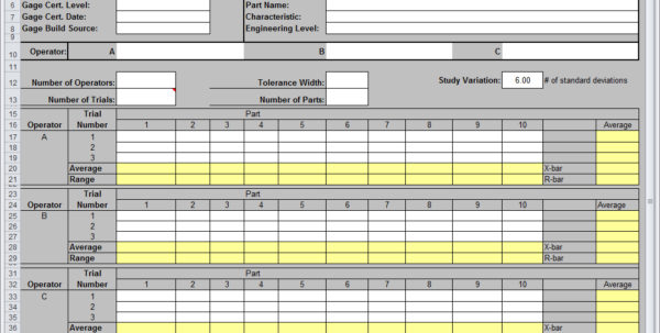 Gage R&r Spreadsheet With Regard To Gage Rr Excel – Bulat