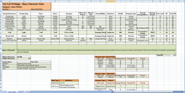 Game Design Spreadsheet For Game Design Documents  Jesse R. Walter