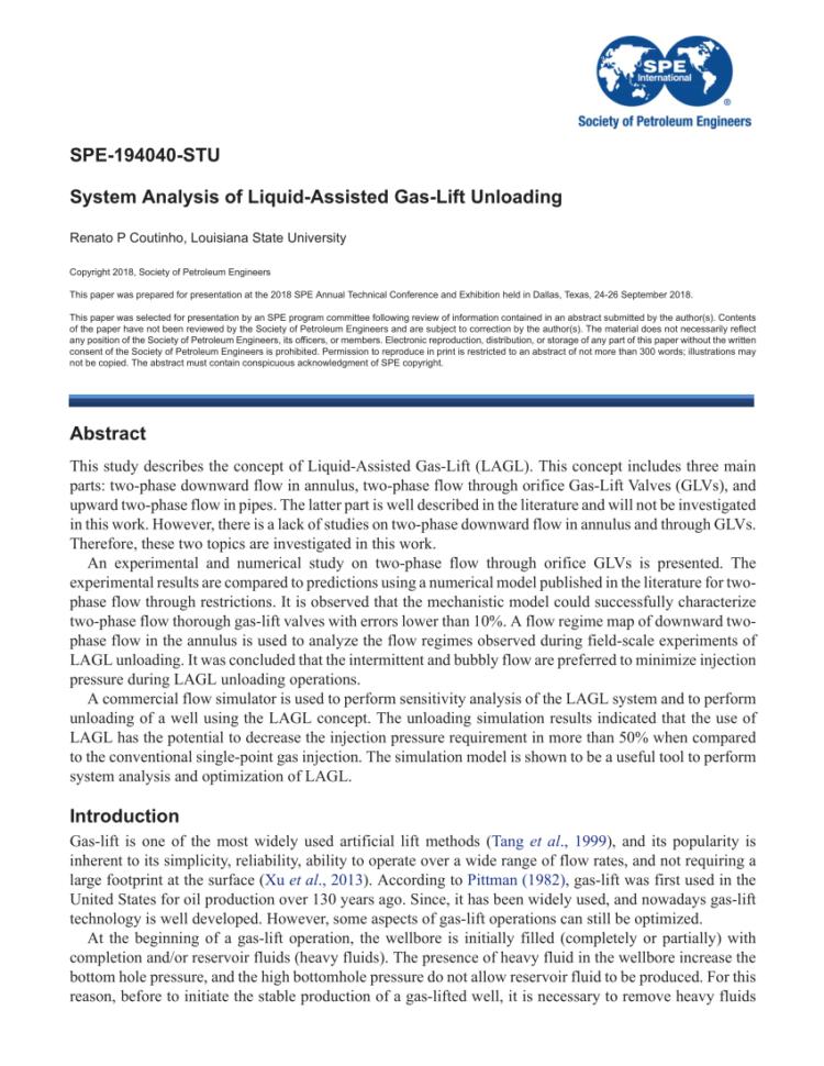 Gas Lift Design Spreadsheet Regarding Gaslift Unloading And Operating Simulation As Applied To Mandrel