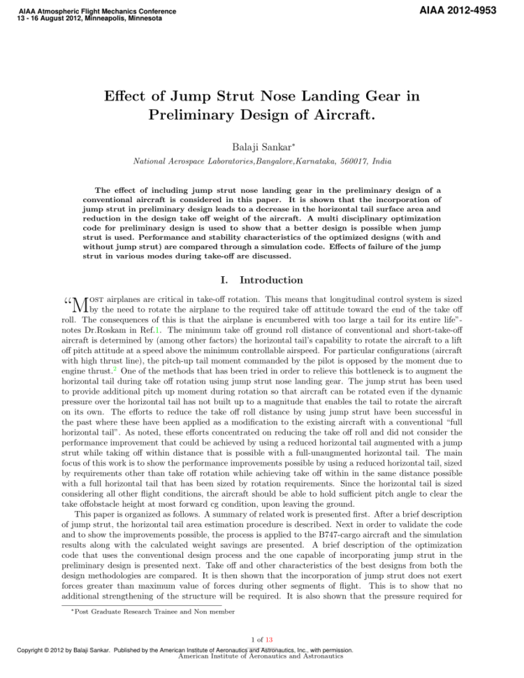 Gas Strut Calculation Spreadsheet In Pdf Effect Of Jump Strut Nose Landing Gear In Preliminary Design Of