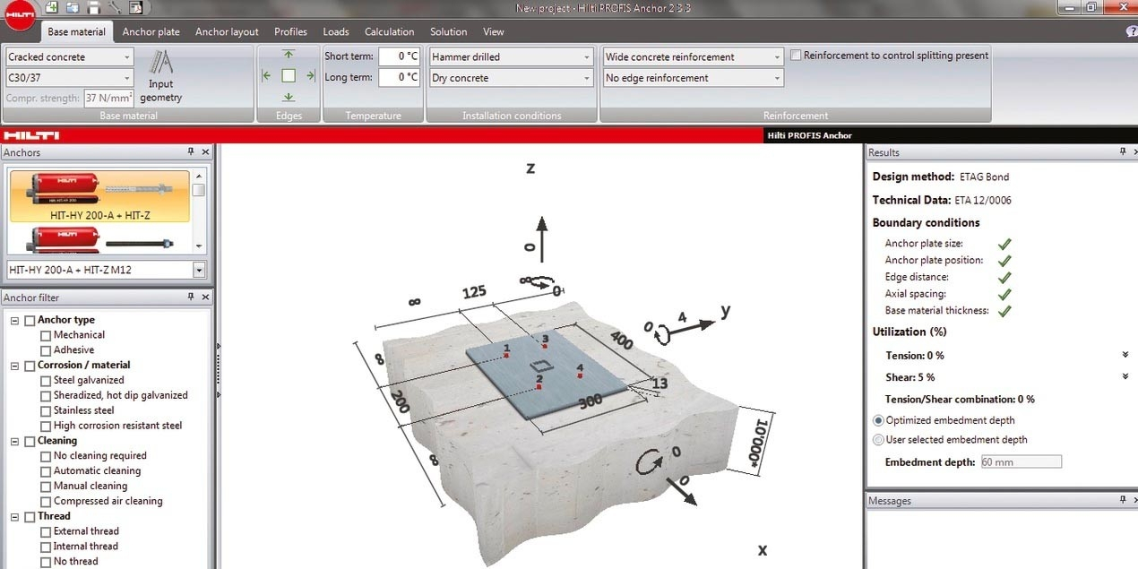 Gas Strut Calculation Spreadsheet Inside Anchor Design Center  Hilti Usa