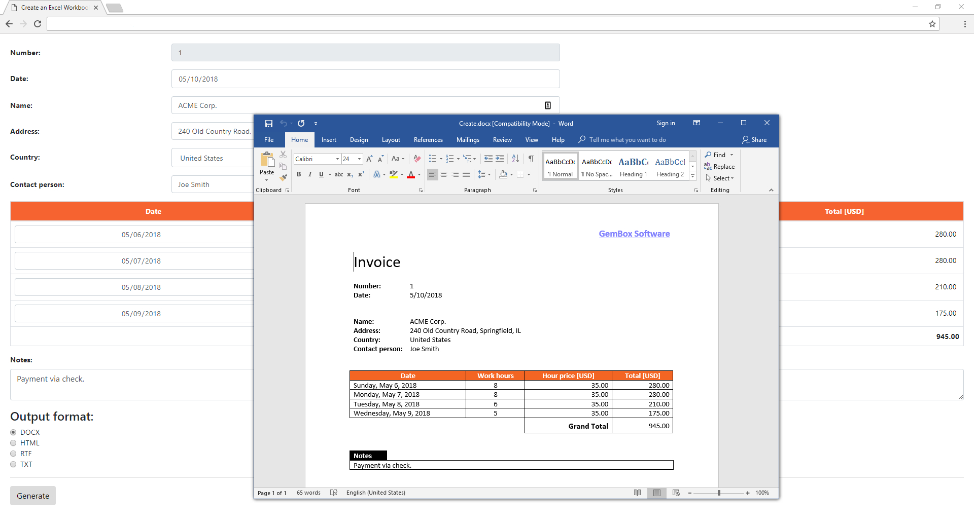 Gembox Spreadsheet Example With Create And Save A Word File From Asp Core Application