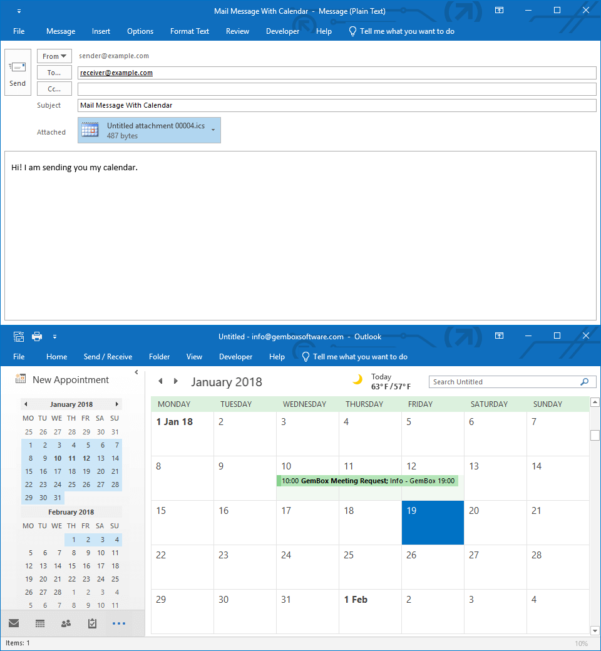 Gembox Spreadsheet Example Within Add A Calendar To A Mail Message From C# / Vb Applications