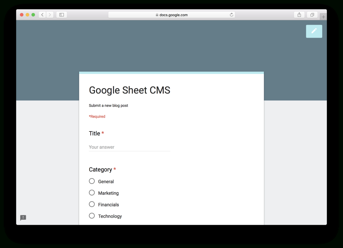 Generate Google Form From Spreadsheet In How To Use Google Sheets And Google Apps Script To Build Your Own