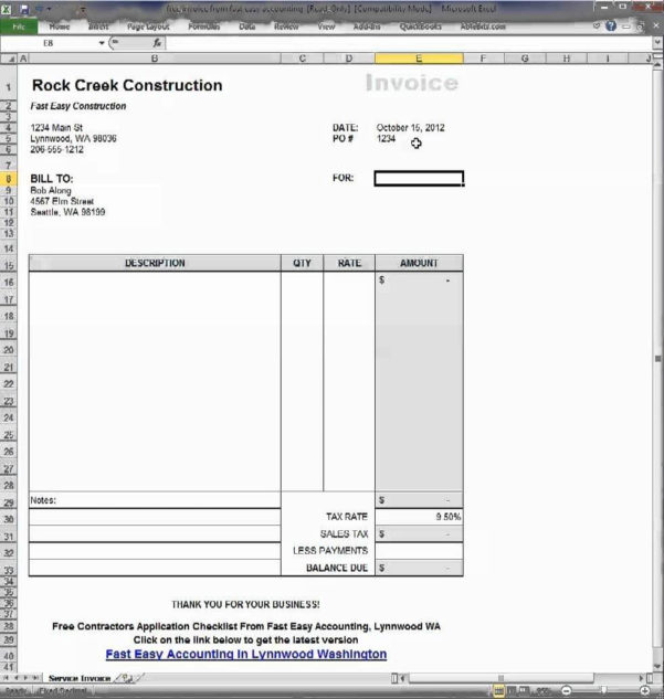 Generate Invoice From Excel Spreadsheet Intended For Create Invoices From Excel Spreadsheet And Invoice Generator Excel