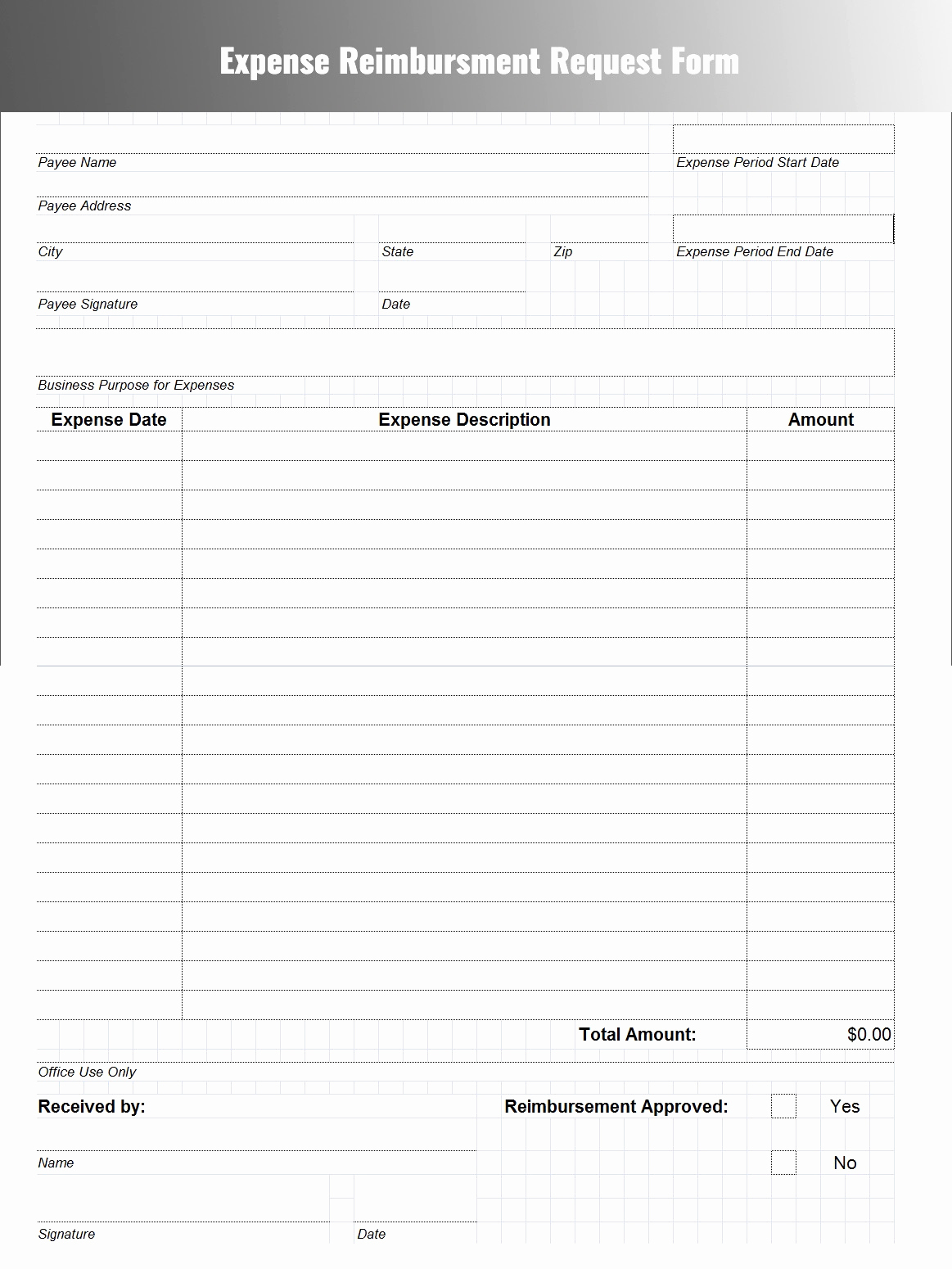 Generic Spreadsheet Intended For Itemized Expense Report ...