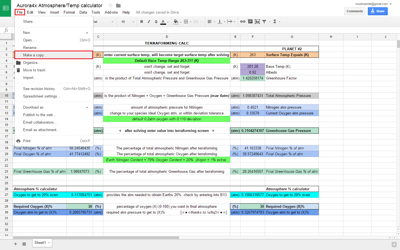 Ghg Calculation Spreadsheet Regarding Terraforming Temp/atm Calculator! With Extra, Possibly Useless