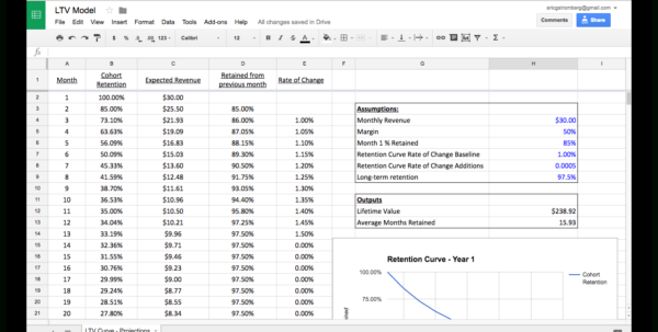 Gic Ladder Spreadsheet Within A Spreadsheet For Calculating Subscription Lifetime Value