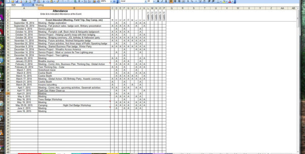Girl Scout Spreadsheet Throughout Girl Scout Trax Spreadsheets : Girlscouts