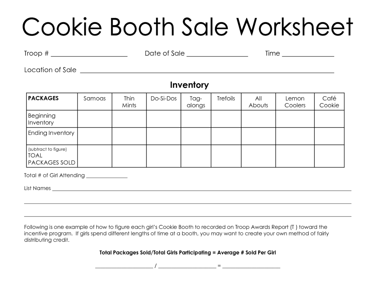 Girl Scout Spreadsheet With Regard To Girl Scout Cookies Tracking Spreadsheet Sheet Booth Worksheet