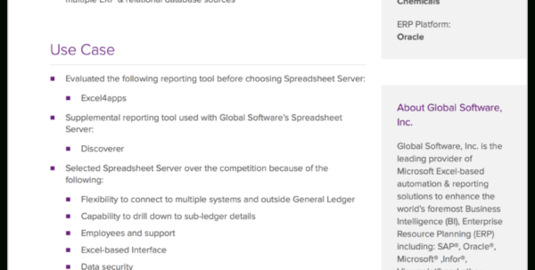 Global Software Inc Spreadsheet Server In Case Studies  Global Software Inc