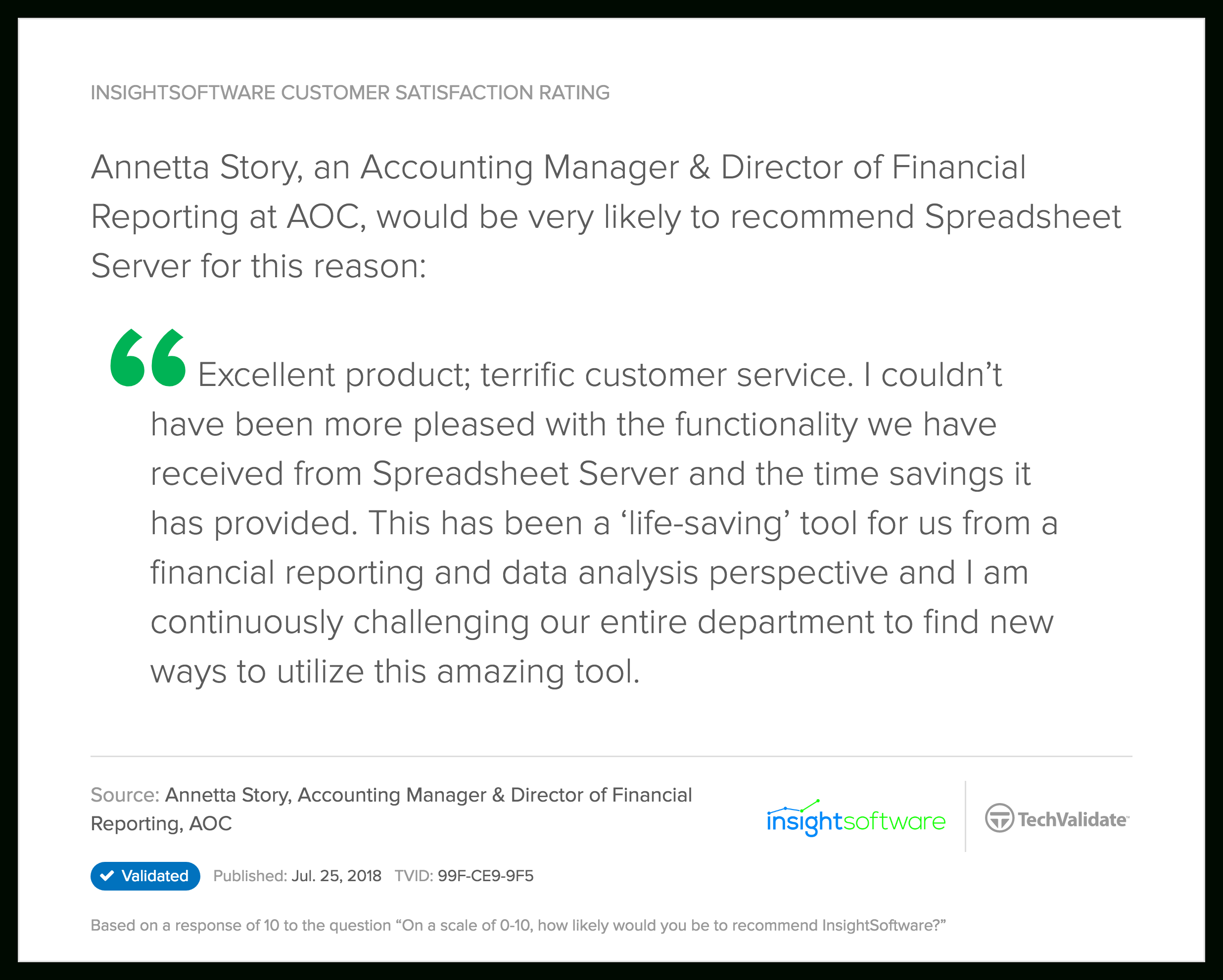 Global Spreadsheet Server With Insightsoftware Techfact: Insightsoftware Customer Satisfaction