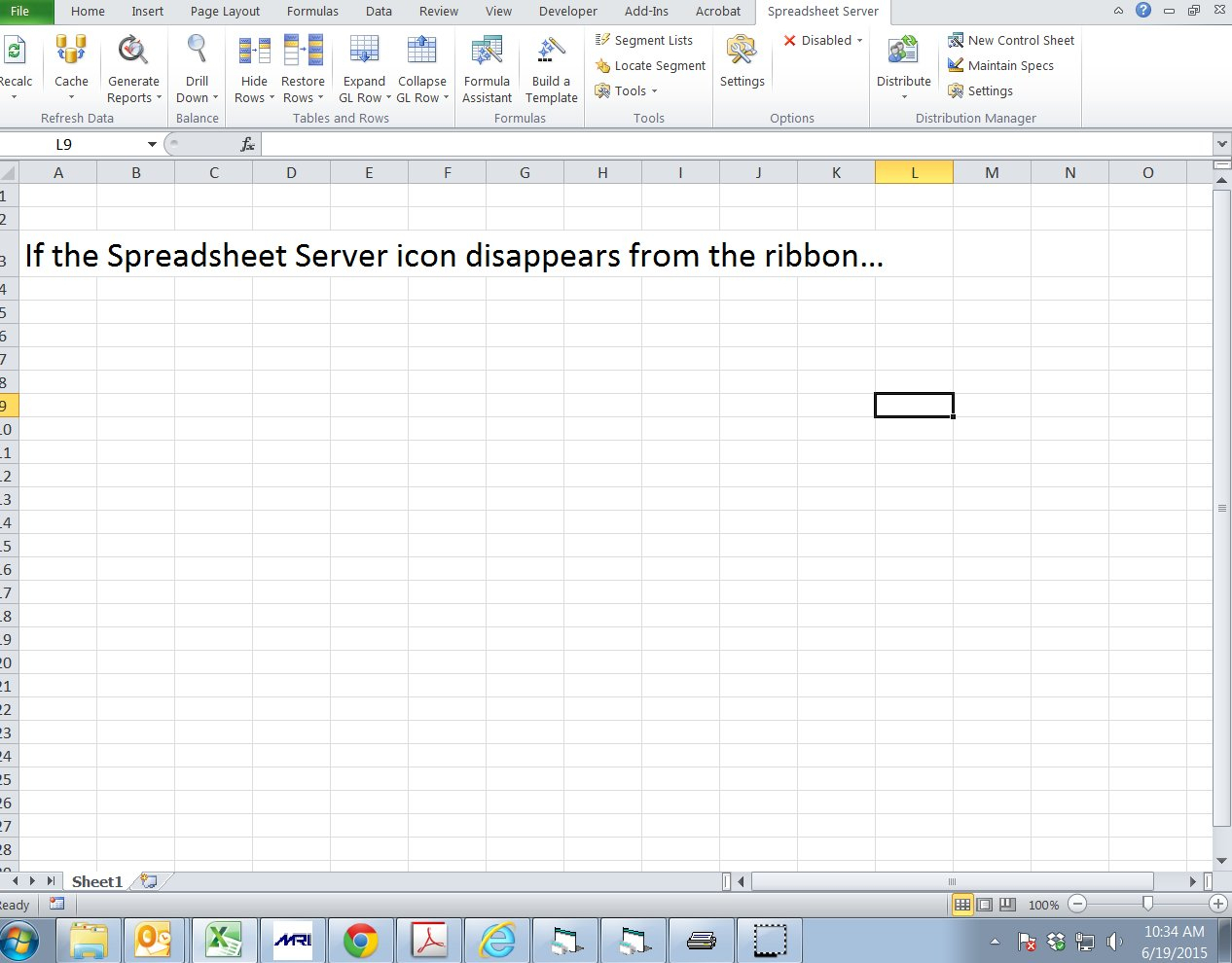 Global Spreadsheet Server With Spreadsheet Server Ribbon Disappearing