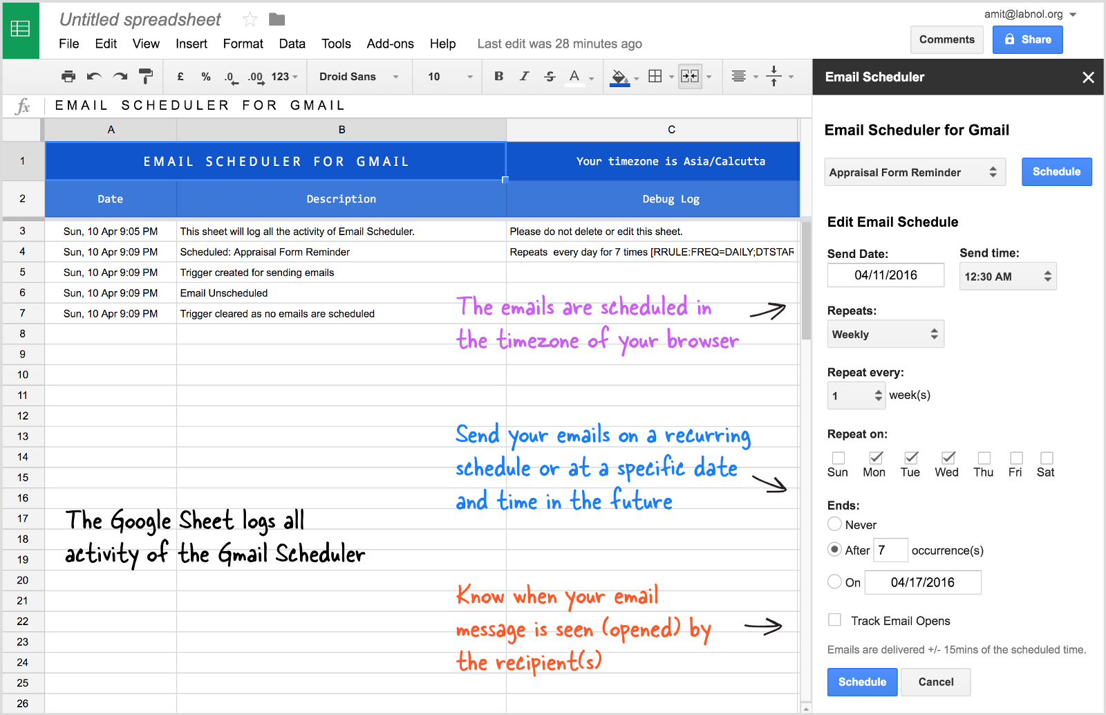 Gmail Spreadsheet Pertaining To Send Recurring Emails In Gmail – Amit Agarwal – Medium