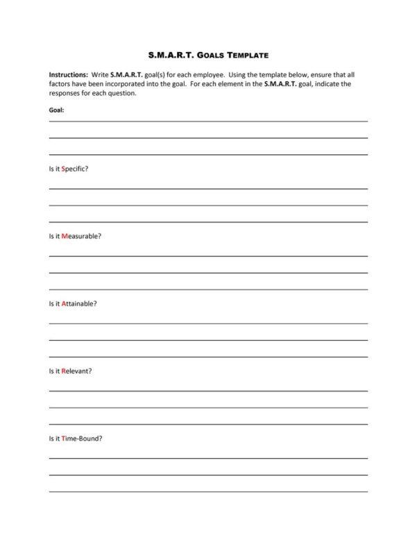 Goal Setting Spreadsheet Template Download Regarding 48 Smart Goals Templates, Examples  Worksheets  Template Lab