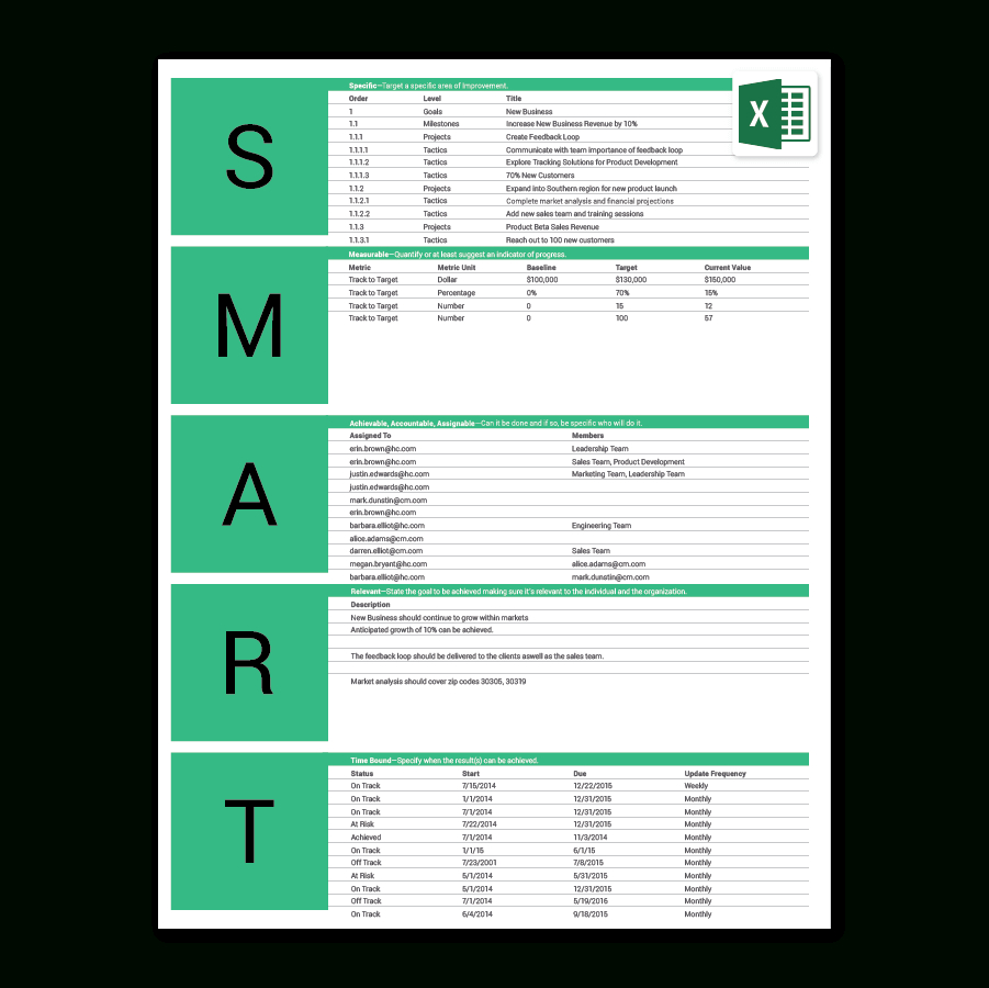 goal setting spreadsheet template download  u2013 db