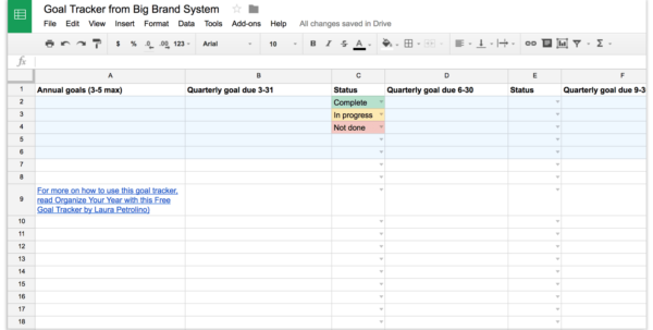 Goal Tracking Spreadsheet Intended For Organize Your Year With This Free Goal Tracker