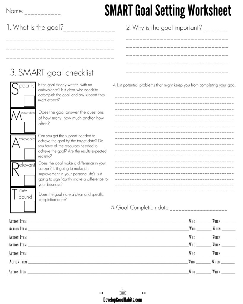 Goals Spreadsheet For 4 Free Goal Setting Worksheets – Free Forms, Templates And Ideas To