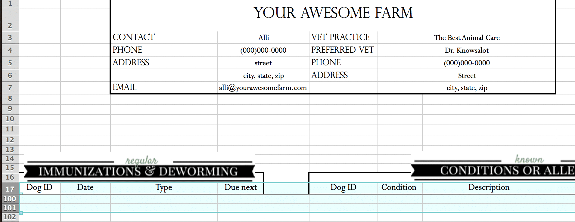 Goat Record Keeping Spreadsheet In Animal Records Spreadsheet