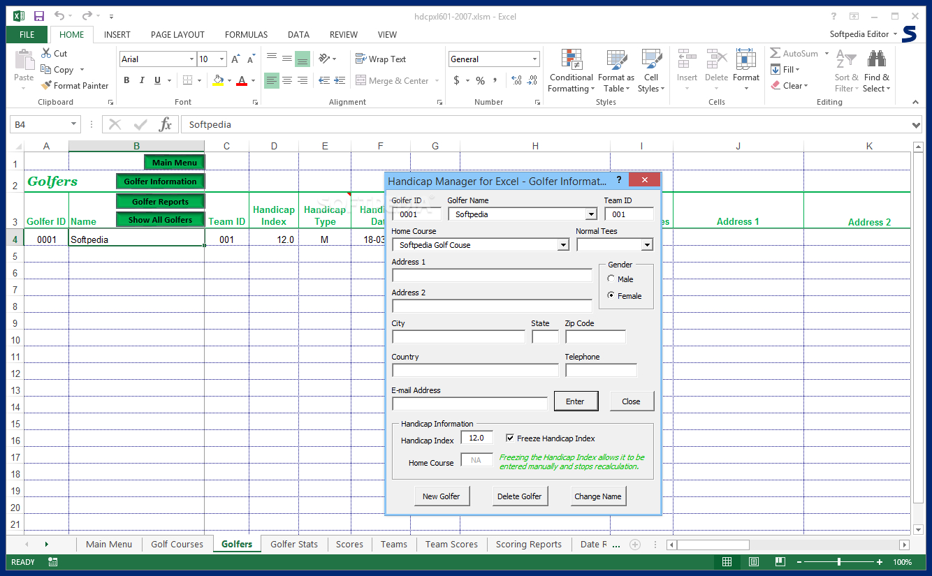 Golf Handicap Calculator Spreadsheet For Download Handicap Manager For Excel 6.03