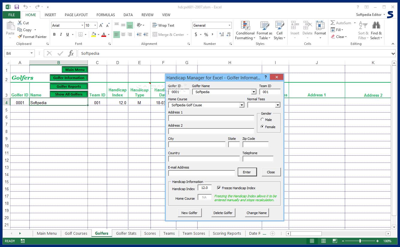Golf Handicap Excel Spreadsheet Intended For Download Handicap Manager For Excel 6.03