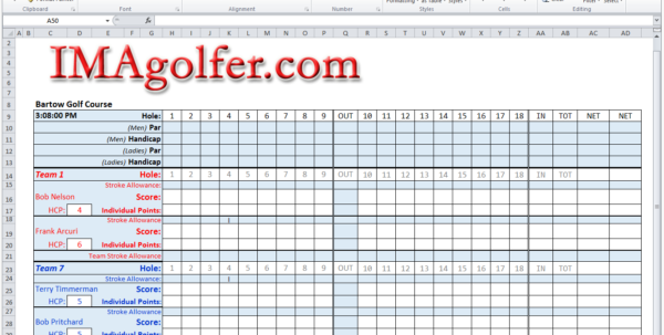 Golf League Excel Spreadsheet In Imagolfer  Golf League Management Website