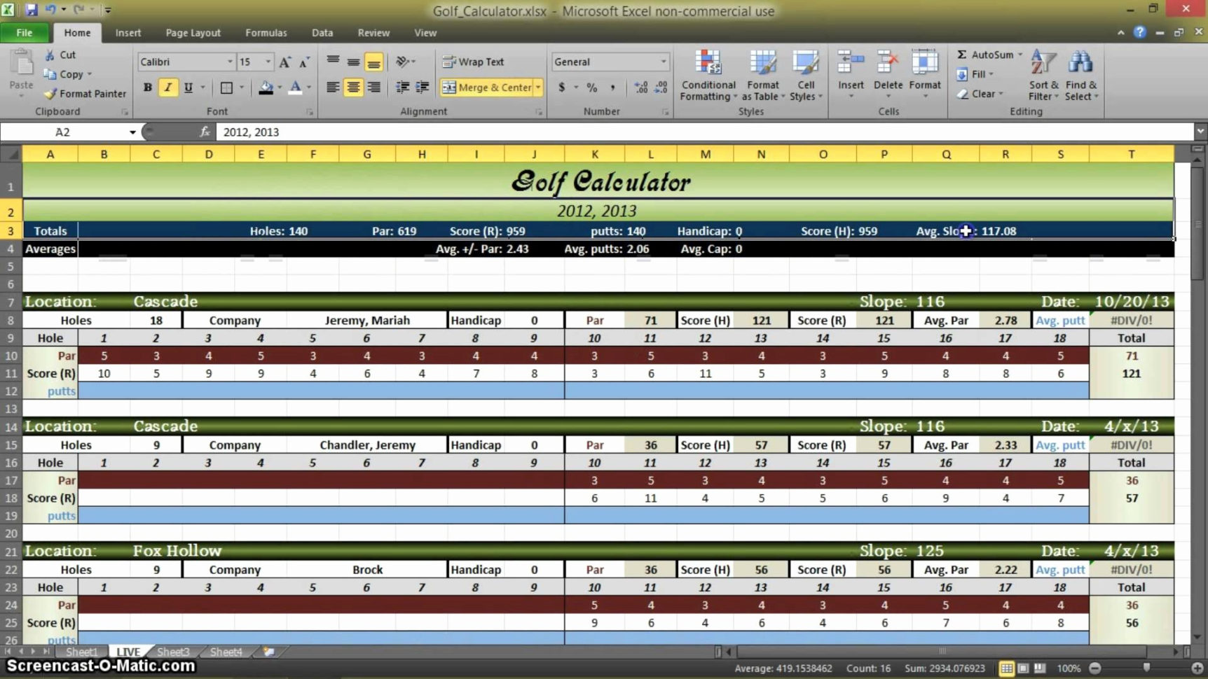 Golf League Excel Spreadsheet With Golf League Excel Spreadsheet  Austinroofing