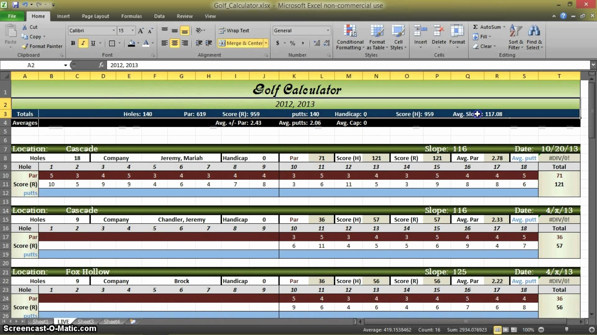 Golf League Spreadsheet With Regard To Golf League Excel Spreadsheet  Austinroofing