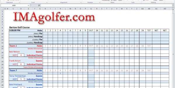 Golf Pairings Spreadsheet With Golf League Excel Spreadsheet  Austinroofing