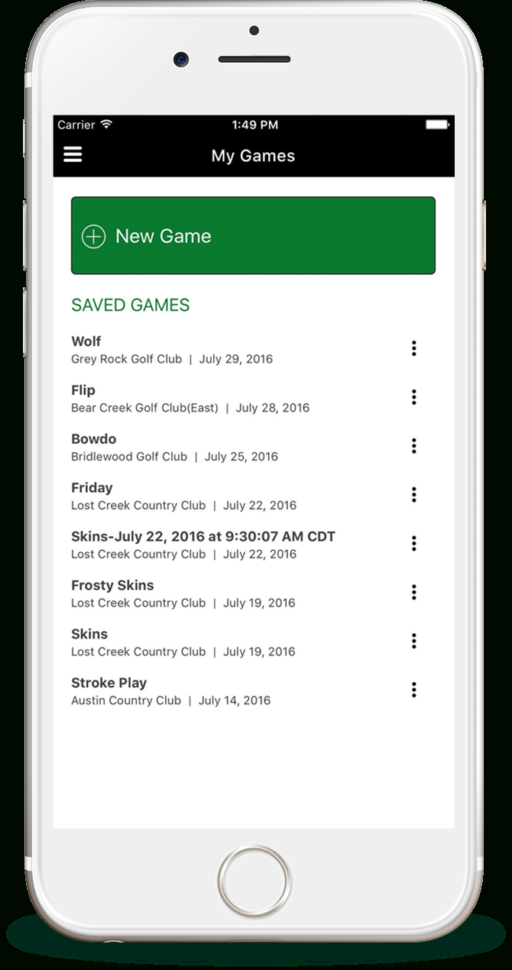 Golf Skins Game Spreadsheet Within Money Game Golf – Track Your Score. Track Your Bet. Track Your Money!