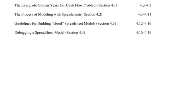 Good Spreadsheet Pertaining To Table Of Contents Chapter 4 The Art Of Modeling With Spreadsheets
